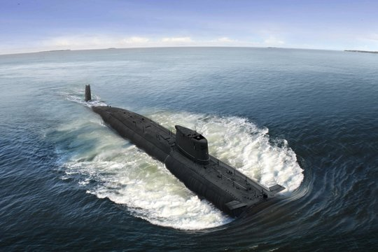 Naval submarine at  open sea