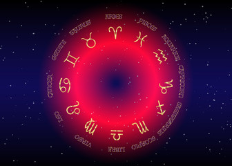 Set icon of zodiac, golden astrological signs, gold image of horoscope. Horoscope zodiac signs. Astrology symbols set. Red night sky and stars,  blue night sky background, vector illustration