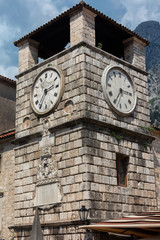Clock Tower, built in the 17th century in Baroque style on the Kotor's  town square.