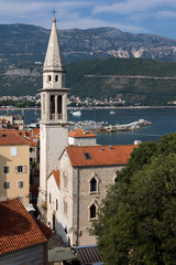 St. John's Church Budva, Montenegro, originated in the 9th century, dedicated to St. John the Baptist, protector of Budva.