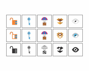 parachute eye lock key image vector icon logo set