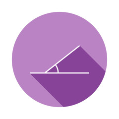30 degree angle icon in long shadow style. One of Geometric figures collection icon can be used for UI, UX