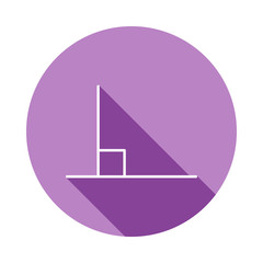 90 degree angle icon in long shadow style. One of Geometric figures collection icon can be used for UI, UX