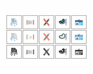 stationary paper document paint image vector icon logo set