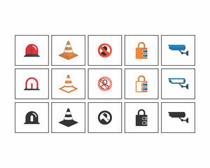 patrol siren padlock image vector icon logo set