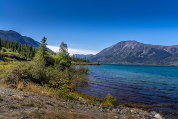 Bennett lake and beach in Carcross, Yukon Canada