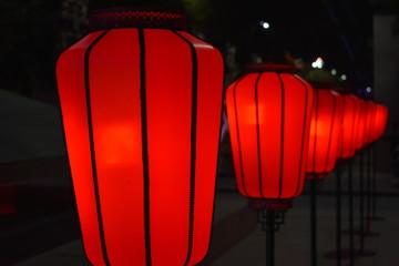 chinese art lamp red