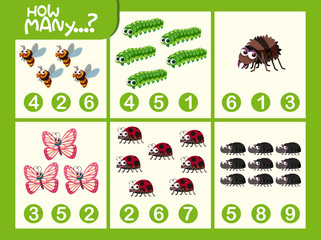 Insect math number worksheet