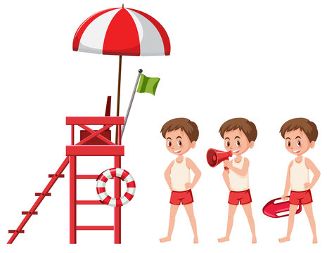 Set of lifeguard on white background