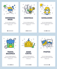Vector web site linear art onboarding screens template. Travel and summer vacation icons. Menu banners for website and mobile app development. Modern design flat illustration.
