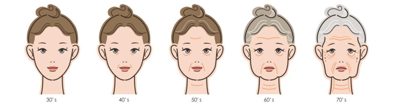 女性の顔、加齢による変化の過程。30代から70代まで