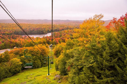 Fall color views from a ski lift in New England