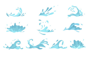 Water splashes collection blue waves wavy symbols Fototapete