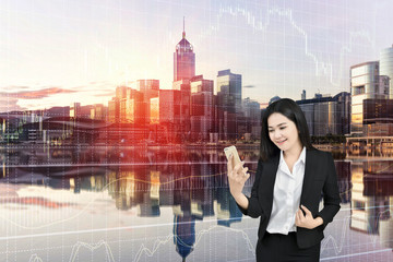 Business concept of young woman are trading stock market