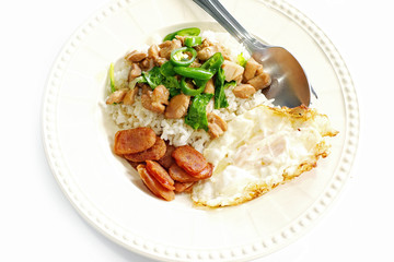 Baked chicken with egg fried rice.