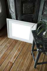 White isolated posters with frame mockup in interior