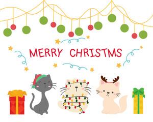 Christmas card. cute cats.