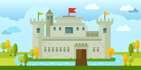 Beautiful Classic old castle flat vector