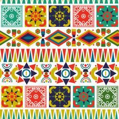 Bohemian folk abstract patchwork seamless pattern