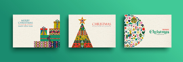 Merry Christmas retro folk art card collection