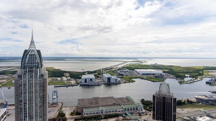 Aerial view of downtown Mobile, Alabama riverside