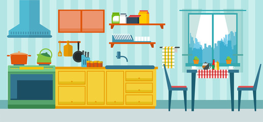 Vector illustration of kitchen with the furniture and creative interior
