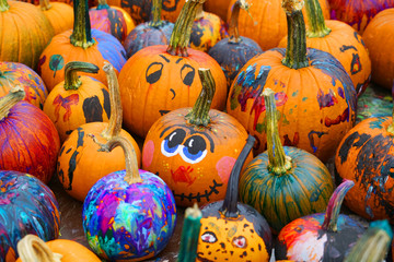 group of colorful painted pumpkin for Halloween in autumn
