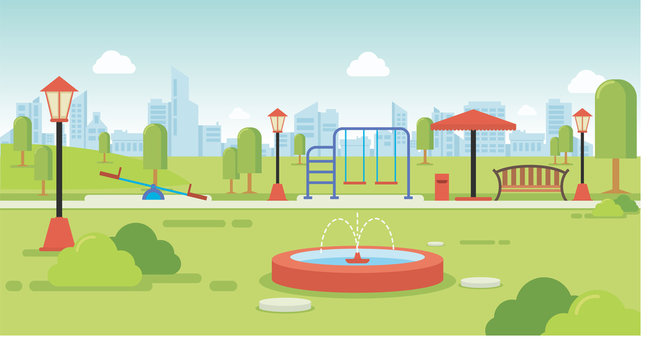 City park with park benches and kids playground