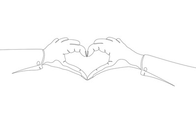 The single line drawing of hand heart. Idea for good health or love of people.