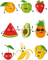 Funny fruit face and cartoon fruit characters icon vector set