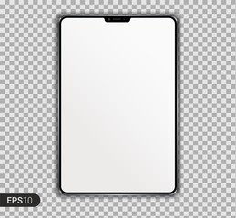 New Realistic Tablet PC Computer with blank Screen Isolated on transparent Background. Can Use for Template, Project, Presentation or Banner. Electronic Gadget, Device Set Mock Up. Vector Illustration