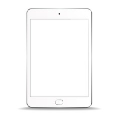 New Realistic White Tablet PC Computer with blank Screen Isolated on white Background. Can Use for Template, Project, Presentation or Banner. Electronic Gadget, Device Set Mock Up. Vector Illustration