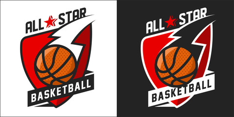 Illustration of colorful basketball team logo
