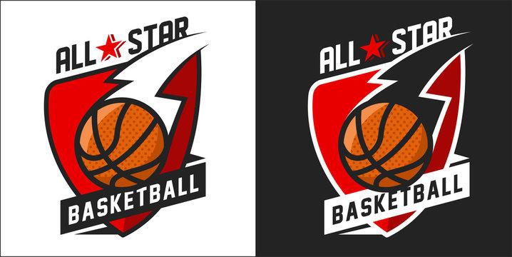 Illustration of colorful basketball team logo