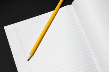 Photo of a fragment of a notebook in line with a pencil