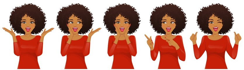 Surprised african american woman with afro hairstyle and open mouth set isolated vector illustration