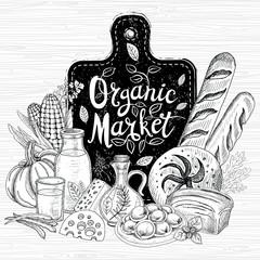 Organic market, logo design, healthy food shop. Vegetables, fruits, meat, milk, eggs, bread. Organic food set. Good nutrition. Hand drawn vector illustration.