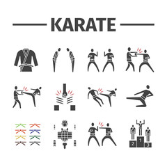 Karate icons set. Vector sports signs for web graphics.