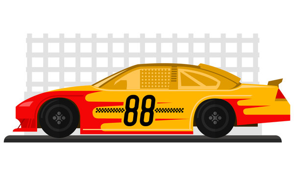 Yellow racing car is ready to race on race track