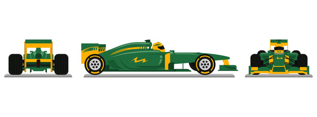 Door stickers F1 Green Racing car ready for race