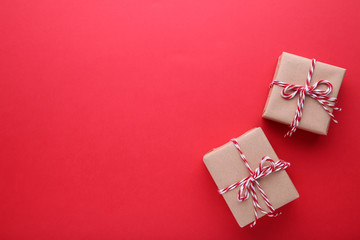 Christmas gifts presents on a red background.