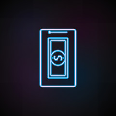 cash storage in mobile banking icon in neon style. One of Mobile banking collection icon can be used for UI, UX
