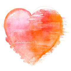 A vector watercolour drawing of a vibrant red heart on a white background