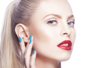 Fashion model girl beauty face close-up. Bright red lips makeup, perfect fresh clean skin. Hand touching face. Skincare facial treatment concept. White background. Nail manicure.