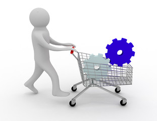 A 3d person/two gears in the shopping cart