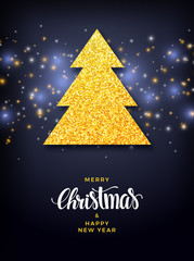 Christmas tree with glitter fill background, holiday greeting card