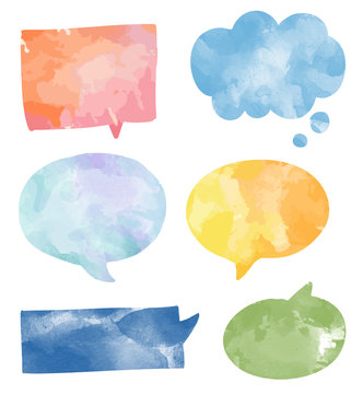 Set of colorful watercolor speech bubbles vector