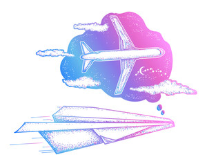 Dream tattoo and t-shirt design. Paper plane dreams to big plane. Symbol imagination, dream, motivation, creative art tattoo. Follow Dreams art