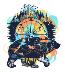 Bear and mountains tattoo watercolor splashes style. Travel symbol, adventure tourism. Mountain, forest, night sky. Magic tribal bear double exposure animals