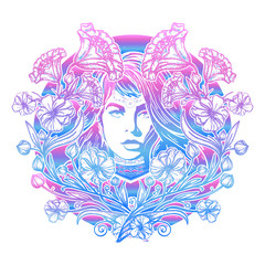 Art nouveau woman and flowers tattoo and t-shirt design
